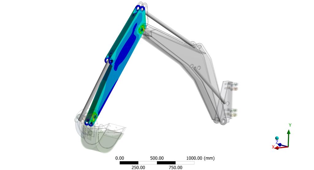 Bureau d'études mécanique et simulation numérique - Machines spéciales - Pelle AR Structure